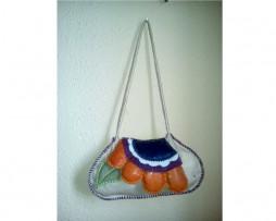 Bolso artesanal de cuero: Flor tres colores
