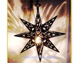 Farol marroquí de hierro calado en forma de estrella
