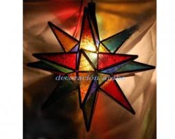 Farol marroquí de 12 puntas multicolor