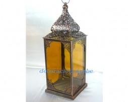Farol marroquí calado y cristal mostaza