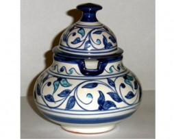 Azucarero en cerámica con motivos andalusís color azul