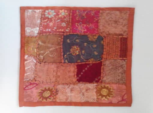 cojín india patchwork marrón