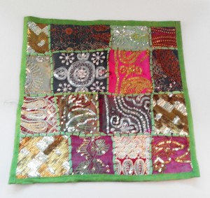 cojín india patchwork verde