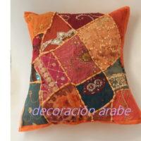 cojín India patcwork naranja