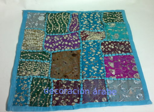 cojin india patchwork azul