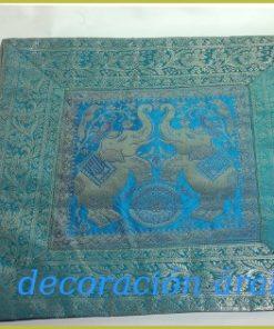 Cojín indio azulado celeste, dos elefantes