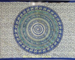 Colcha india rueda de Ganesha azul