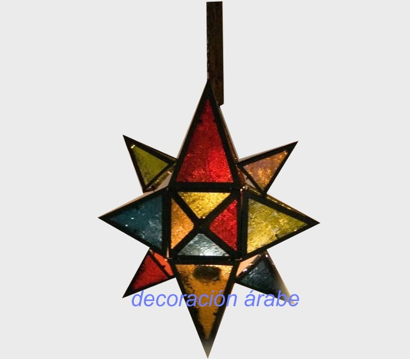 farol marroquí puntas multicolor