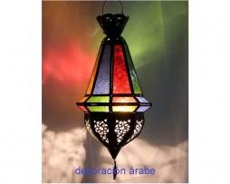 Farol marroquí multicolor en forma de bellota