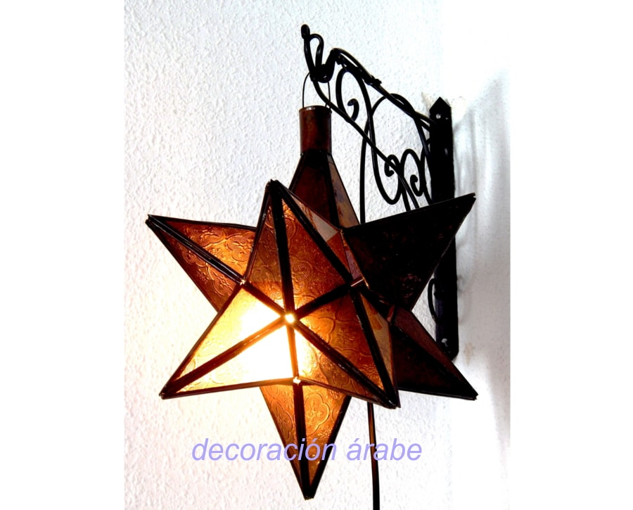 lámpara marroquí puntas mostaza