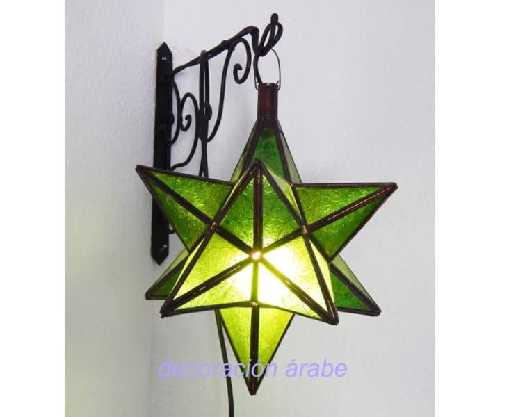 lámpara marrroqui puntas verde