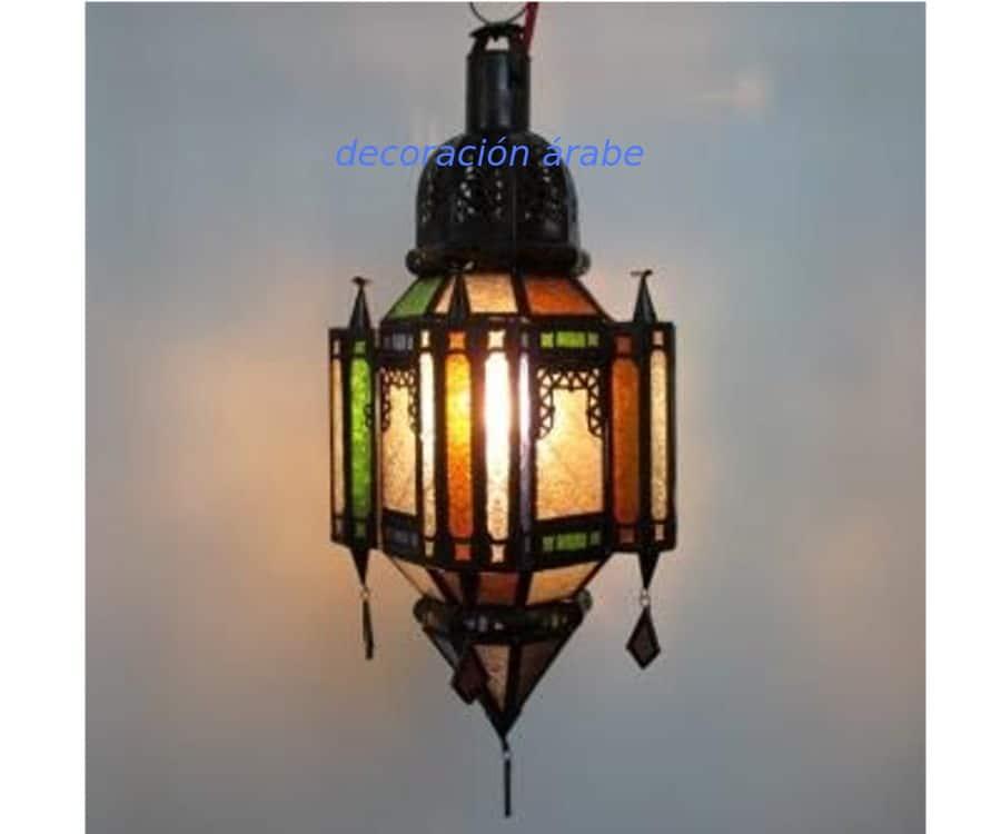 L mpara marroqu de estilo andalus cristales de colores decoraci n y artesan a rabe - Lamparas y decoracion ...