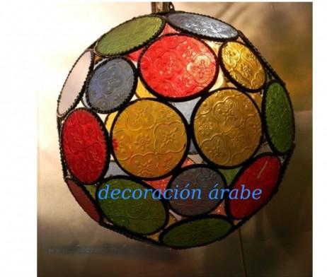 Lampara marroquí esfera de colores