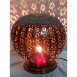 Lámpara árabe marroquí de latón envejecido con celosía