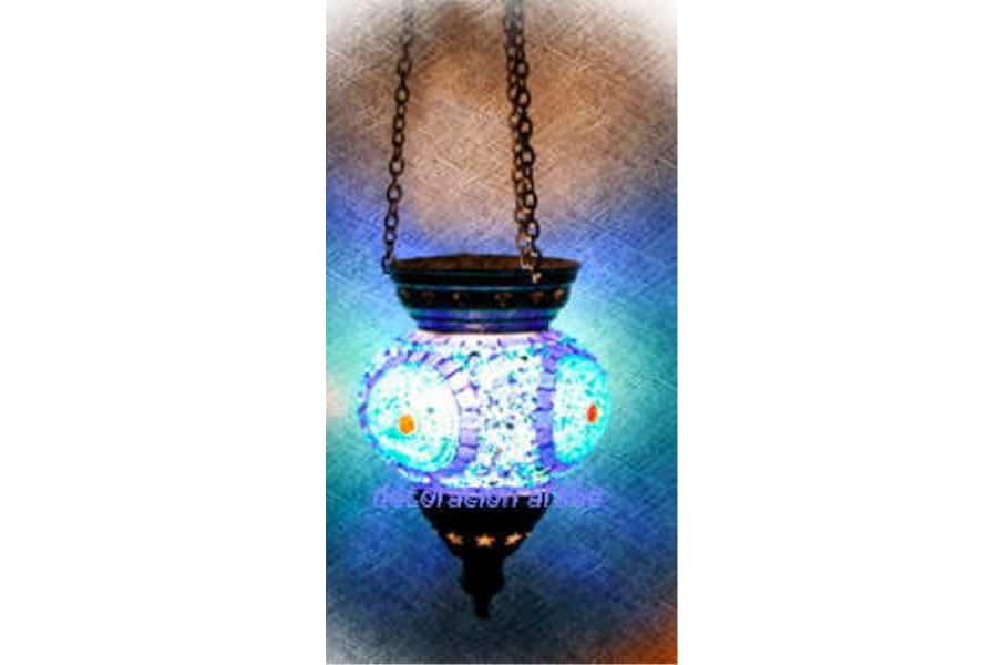 L mpara turca de cristal de murano de techo con forma de - Lamparas de cristal de colores ...
