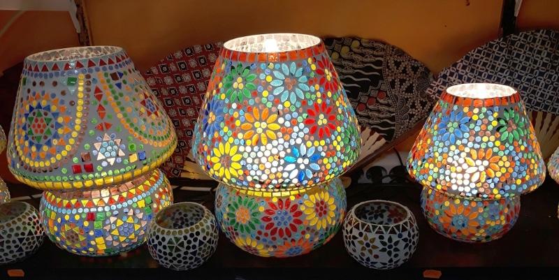 lamparas mesa india cristal