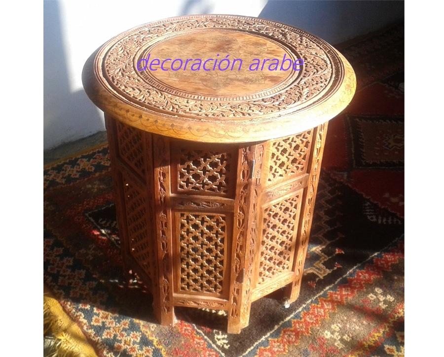 Mesas indias madera tallada e incrustaciones decoraci n - Mesas decorativas ...