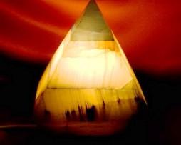 Lámpara piramide de onix azul