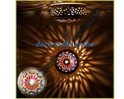 Plafón marroqui con calado árabe y resinas de colores
