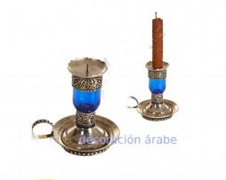 Porta velas marroquí de alpaca y cristal