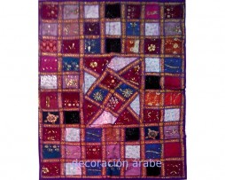 Tapiz india patchwork color morado