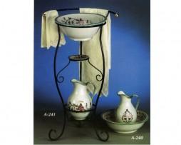 Juego de palancana y jarrón de cerámica