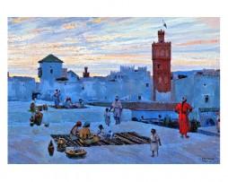 Cartel, póster en papel acuarela de Mariano Bertuchi, Azoteas, Marruecos