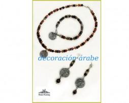 Conjunto de collar, pulsera y pendientes de ágatas y plata de ley