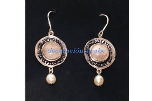pendientes árabes pta, cuarzo rosa, perla cultivada