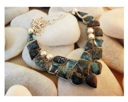 Collar de Jaipur, India, plata, gemas desiguales de azurita, perlas naturales y topacio azul