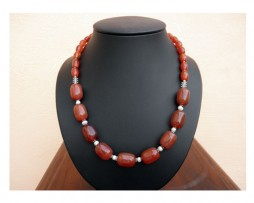 Collar de plata, ágatas y perlas