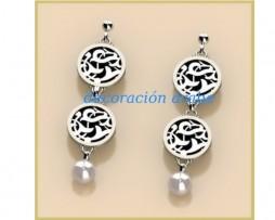 Pendientes dobles plata de ley, motivo floral de la Alhambra y perla