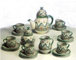 Juego de té completo, color verde, cerámica árabe andalusí