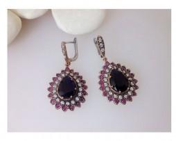 Pendientes turcos, plata, zafiros, rubíes y topacios