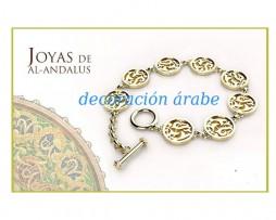 Pulsera de baño de oro con medallones, motivos florales de la Alhambra