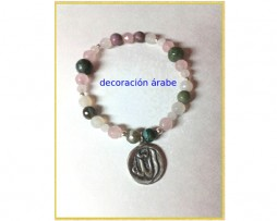 Pulsera Allah, cuarzo rosa, blanco, turmalinas y plata