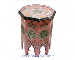Mesa de madera pintada octogonal, varios colores