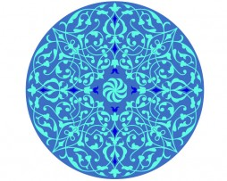 Mandala de geometría sagrada, azul floral 7