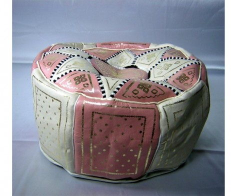 Puff marroquí rosa