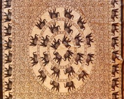 Colcha india círculo elefantes