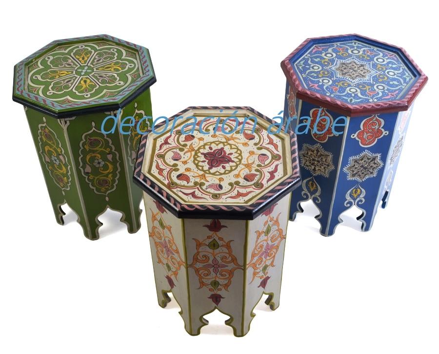 Mesa marroqu de madera pintada diferentes colores for Muebles marroquies online