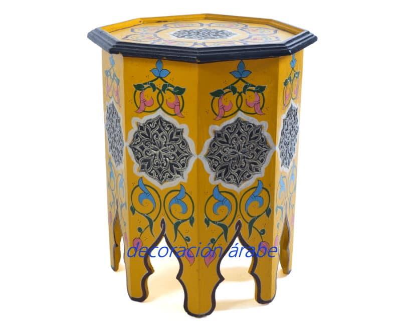 mesita madera pintada marroquí