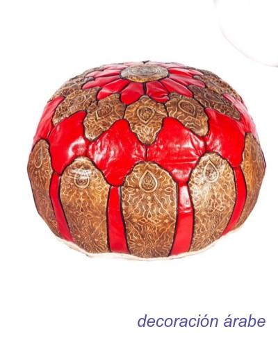 puff marroquí cuero repujado