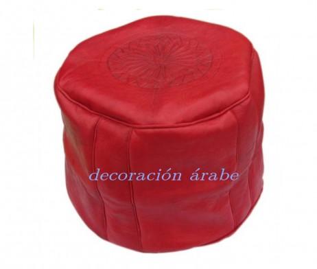 Puff rojo alto marroquí