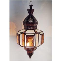 lámpara marroquí arcos árabes ámbar