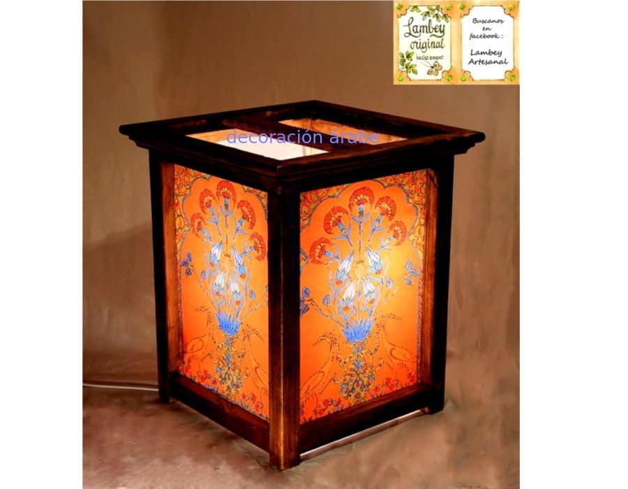 L mpara artesanal de madera y papel floral decoraci n y - Lamparas artesanales de madera ...