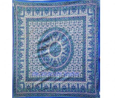 Colcha india azul floral
