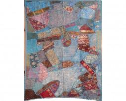 Tapiz india azul celeste patchwork