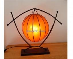 lámpara marroquí piel y forja naranja