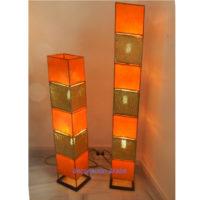 lámpara marroquí forja, piel y cobre. naranja